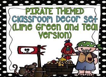 Pirate Themed Editable Decor Set Teal/Green Version {Edita