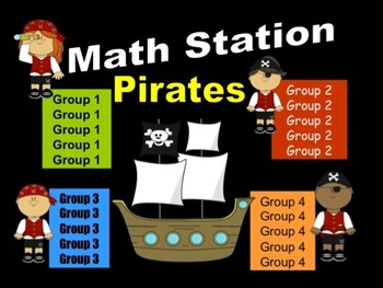 Pirate Themed Math Stations - automated powerpoint for sta
