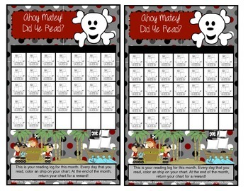 Pirate Themed Reading Log