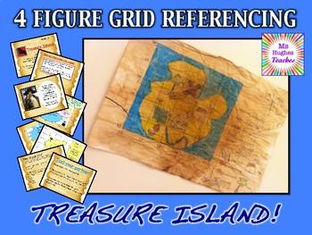 Pirate Treasure Island map 4 figure grid reference animate