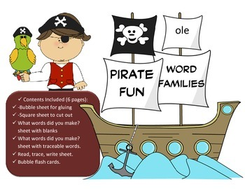 Pirate Word Family Fun - OLE Word Family Activity/Project Set