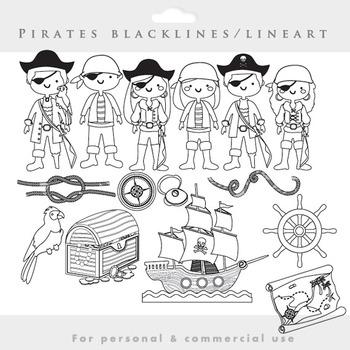 Pirate clipart blacklines clip art line art lineart black