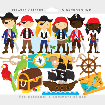 Pirate clipart - pirates clip art, eyepatch, booty, ship,
