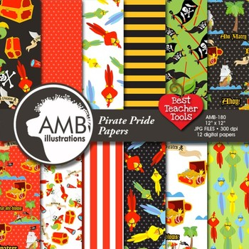 Digital Papers - Pirate papers and backgrounds 2 AMB-180