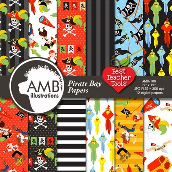 Digital Papers - Pirate papers and backgrounds AMB-179