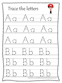 Pirate themed A-Z Tracing preschool printable worksheets.