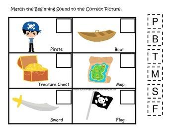 Pirate themed Match the Beginning Sound preschool educatio