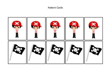 Pirate themed Pattern Cards #1 preschool educational game.