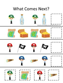 Pirate themed What Comes Next preschool educational game.