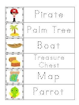 Pirate themed Word Tracing preschool printable worksheets.