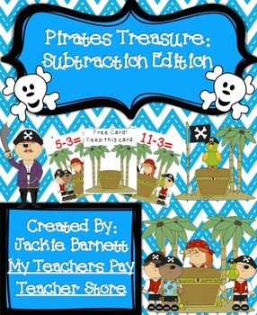 Pirates Treasure Math Game-Subtraction CCSS Aligned
