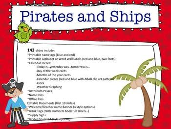 Pirates and Ships Classroom Theme Set