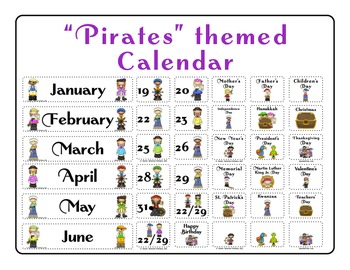 """Pirates"" themed Calendar Set"