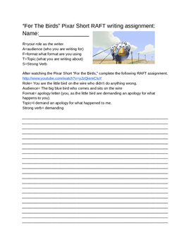 Pixar: For the Birds RAFT Writing Assignment