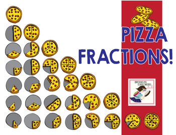 Pizza Fractions - Fun Food Fractions - Color and Line Art