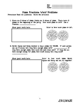 Pizza Fractions Word Problems