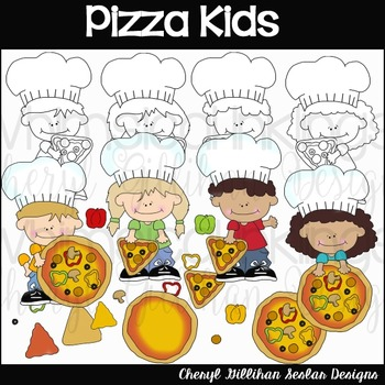 Pizza Kids Clipart Collection
