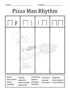Pizza Man Rhythm Worksheet