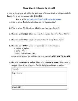 Pizza Movil Spanish Webquest