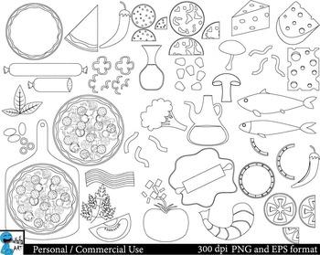 Pizza Outline Set Clipart Digital Clip Art Graphics 48 ima