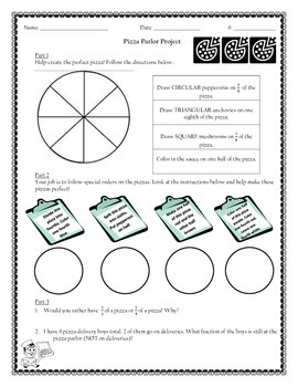 Pizza Fraction Fun - Equivalent, Comparing, and Identifyin