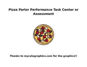 Fun Word Problems! Pizza Parlor Center Activity or Perform