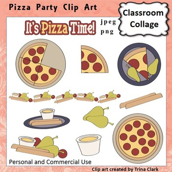 Pizza Party Clip Art - Color - personal & commercial use