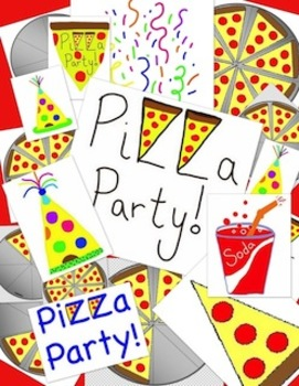 Pizza Party Clipart Bundle - Great for Teaching Fractions too!