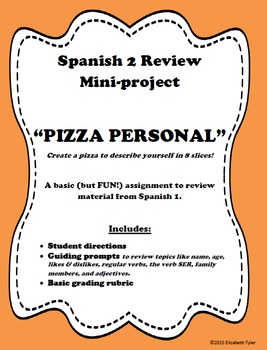 Pizza Personal - Review of Info from Spanish 1