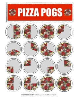 Pizza Pogs Fraction Game Activity comparing & identifying