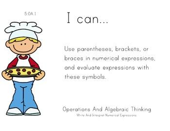 Pizza Theme 5th grade math Common Core Posters Fifth Grade