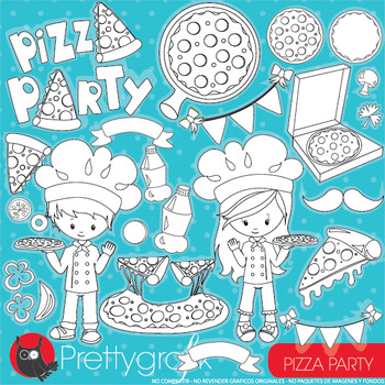 Pizza party stamps commercial use, vector graphics, images
