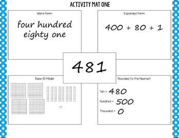 Place Value Activity Mats