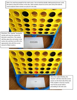 Place Value Activity for Connect Four / Math Center / Decimals
