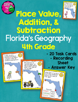 Place Value, Addition, & Subtraction 20 Task Cards Using F