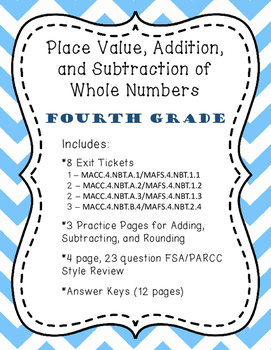 4.NBT.B.4 - Place Value, Addition, and Subtraction - Fourt