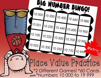 Place Value Bingo: Five Digit Numbers (Metric), 2 Differen
