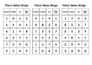 Place Value Bingo Game Grade 1, 2, 3, 4