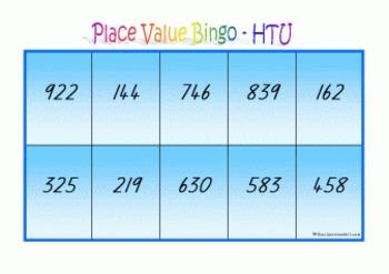 Place Value Bingo - Hundreds Tens & Units