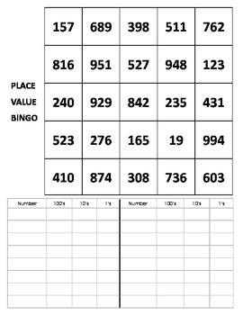 Place Value Bingo - ones, tens, hundreds