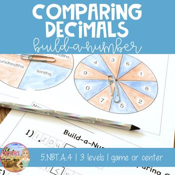 Comparing Decimals Build-a-Number Game 5th Grade CCSS