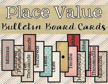 Place Value Bulletin Board Cards {Millions~Millionths}