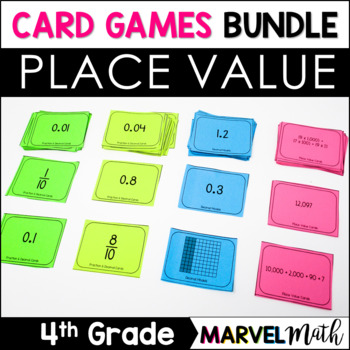 Place Value Card Games Bundle for 4th &5th: Decimals, Expa