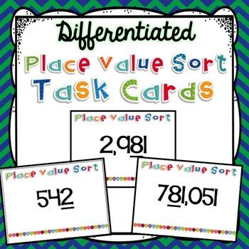 Place Value Sort Task Cards {3.NBT.1}