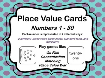 Place Value Cards- Numbers 1-30  Use for a variety of diff