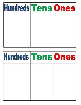 Place Value Chart ( H,T,O)