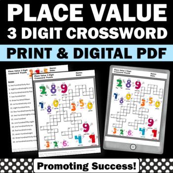 Place Value 3 Digit Crossword Puzzle Worksheet 1st 2nd Gra