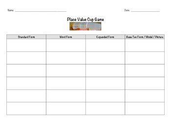 Place Value Cup Game Lesson Plans, Worksheet and Assessmen