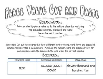 Place Value Cut and Paste up to Millions - Word, Expanded