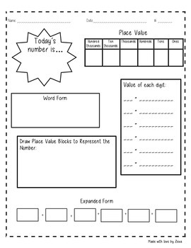 Place Value Daily Worksheet